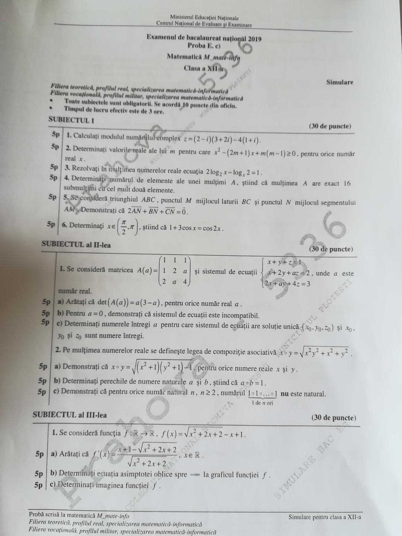 subiecte simulare bac matematica 2019 mate